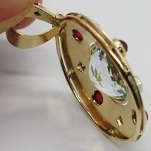 18K YELLOW GOLD NECKLACE BIG OVAL AQUAMARINE RUBY DIAMOND PENDANT SQUARE CHAIN image 5