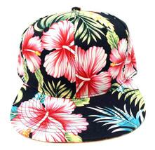 BLACK HIBISCUS HAWAIIAN FLORAL PRINT SNAPBACK HAT CAP FLOWER FLAT BILL R... - $17.05