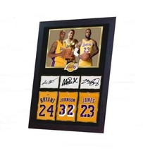 LeBron James Magic Johnson Kobe Bryant NBA photo signed autograph Framed  - $22.03