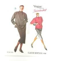 Vogue 1768 Claude Montana Sewing Skirt Top Size 8 Designer Uncut Pattern - $16.78