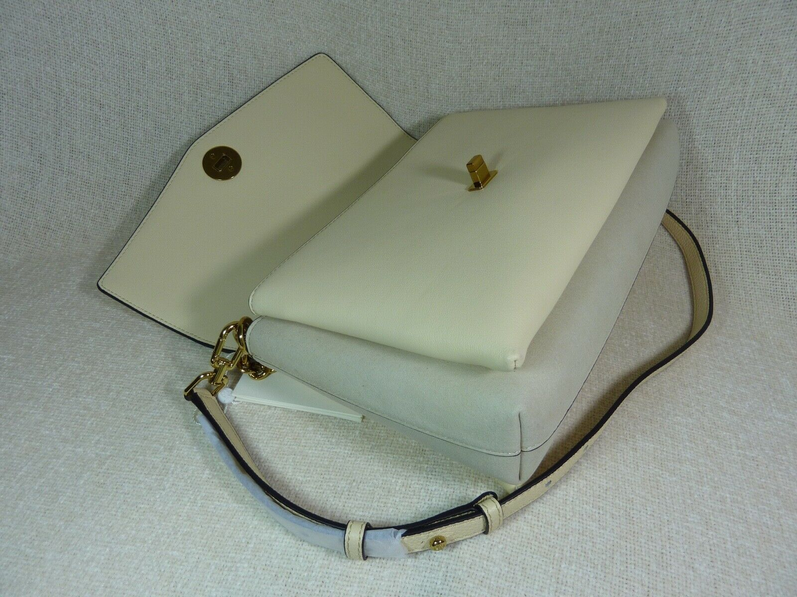 NWT Tory Burch New Cream KIRA Mixed-material Double-strap Shoulder Bag $528 image 6