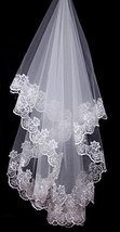 Charming Single-layer Embroidery Lace Edge Bridal Wedding Veil, White/1.5M Long