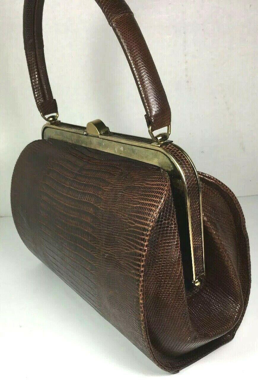 Bellestone True Vintage Brown Reptile Print Leather Handbag Coin Purse Comb