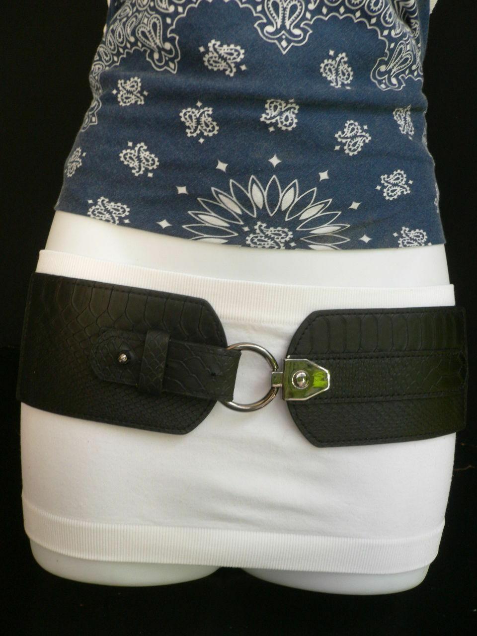 Cintura Donna Fashion Hip Vita Elastico Nero Largo Finta pelle Serpente Timbro image 2