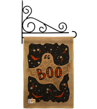 Ghoulish Boo Burlap - Impressions Decorative Metal Fansy Wall Bracket Ga... - $33.97