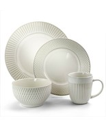 Elama Market Finds 16 Piece Round Stoneware Dinnerware Set in Embossed W... - $77.01