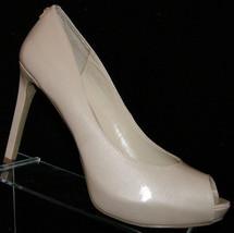 Guess 'Busy' cream man made patent peep toe slip on platform heel 10M - $27.54