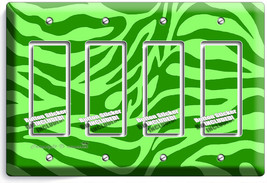 Green Zebra Stripes Animal Prints 4 Gang Gfci Light Switch Wall Plate Room Decor - $19.79