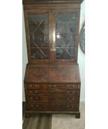 Antique 1800's Mahogany Slant Front Secretary Desk W/ Mullion Glass Doors - $495.00