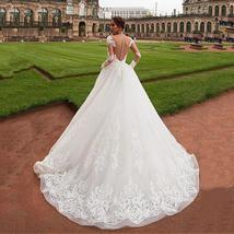Elegant Victorian Tulle Wedding Dress Long Sleeve Court Train With Lace Applique image 3