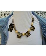 """18"""" Lonnie Lovness Cafe Au Lait Painted Bone Bead Necklace NOS With Tag - $30.00"""