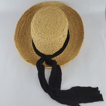 SCALA Straw Woven Wide Brim Dress Summer Hat Embellished Black Scarf OS - $23.36
