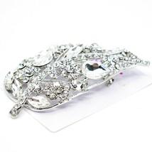 "Crystal Avenue Large Silver Tone Leaf 4"" Pin Brooch image 2"