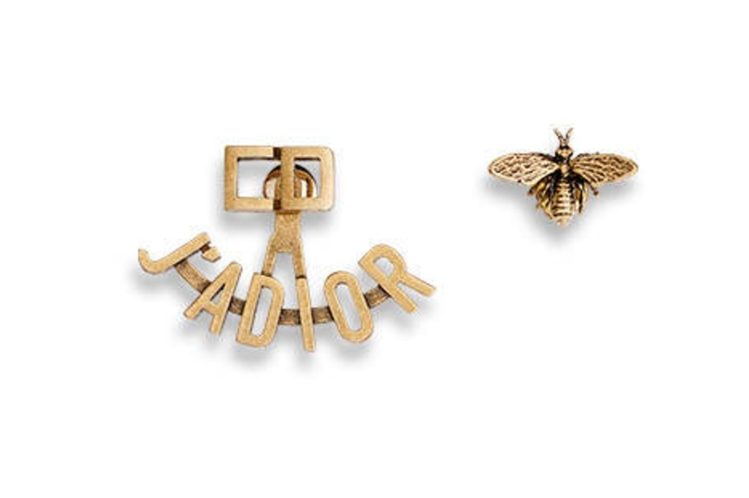 "Authentic Christian Dior 2017 ""J'ADIOR"" EARRINGS Bee Aged Goldtone"