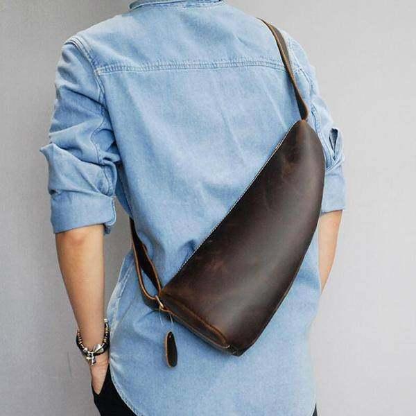 On Sale, Horse Leather Men Chest Pack, Handmade Chest Bag, Messenger Bag image 2