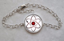 Atom Atomic Model Physics Science Nerd Math 925 Sterling Silver Bracelet - $50.00