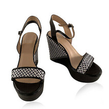Authentic Stuart Weitzman Black Holiday Pipe Woven Wedge Shoes Size 38.5 - $143.55