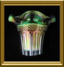 "Northwood ""Lustre Flute"" Green Carnival Glass Vase circa 1909 - $38.00"
