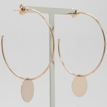 18K ROSE GOLD PENDANT CIRCLE HOOPS EARRINGS WITH FLAT DISC, SMOOTH MADE IN ITALY image 2