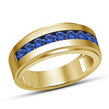 0.88 Carat Blue Sapphire Yellow Gold Finish 925 Silver Men's Band Ring S... - $67.98