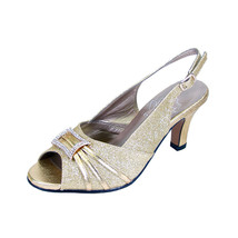 8 FLORAL Nadine Women Wide Width Peep Toe Dress Slingback Shoes With Jewels  - $53.95
