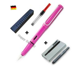 Lamy Safari Fountain Pen Pink F Nib Set with Free Converter + 5 black T10 ink - $26.10