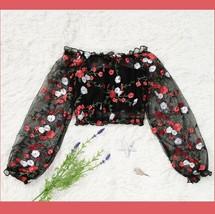 Black Sheer Mesh Long Sleeve 0ff Shoulder Embroidered Floral Spring Crop Top image 3