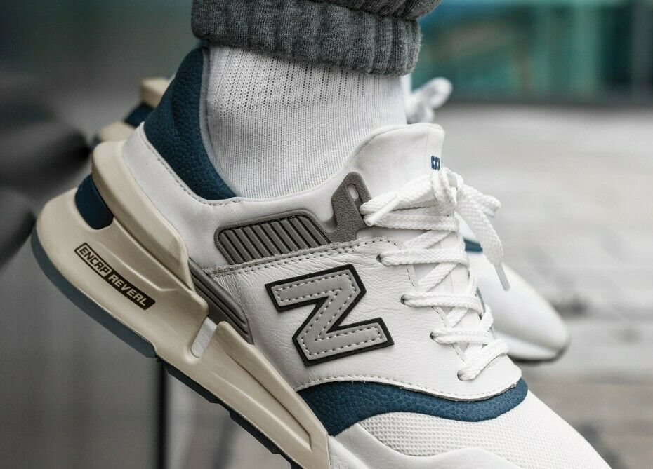 New Balance 997 Mens Trainers White/Blue Sneakers image 8