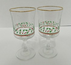 Arby's 1985 Libby Christmas Collection Stemmed Wine Glasses Holly Berrie... - $14.30