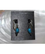 Estate Turquoise & Black Ceramic Rectangle Cab in Pure 100 Silver Bead F... - $13.99