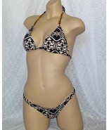 Letarte Tribal Bikini Swimsuit Top Bottom Gold Tie X Small NWT XS & Medium - $120.00