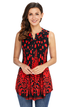 Red Black Floral Print Ruched Tank Top  - $18.56