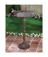 Rustic Flower Birdbath Cast Iron Weathered Look Deck Yard Garden Patio - $40.69