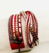 Paparazzi Wrap Snap Bracelet Hot Pink and Silver  - $4.94