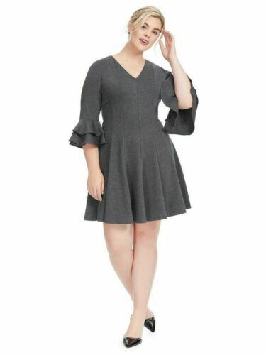 Gabby Skye 22W 3X Ruffle Sleeve Grey Fit And Flare Dress Flounce 3/4 Sleeve N14