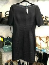 """ELIE TAHARI Black Wool w/ Leather Trim """"Mila"""" Dress Style#E8047603 Sz 8 NWT - $211.69"""