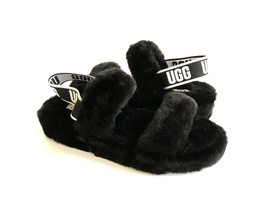 UGG FLUFF OH YEAH SLIDE BLACK MOCASSIN SLIP ON SANDAL US 9 / EU 40 / UK 7 - $101.92