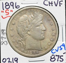 1896S Silver Barber Half Dollar 50¢ Coin Lot# CV59