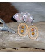 Hand cut Wood Crazy Shaped Earrings, Dangle Earrings with Czech Fire Beads - $18.86