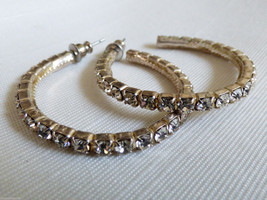 "SILVER TONE CLEAR CRYSTAL RHINESTONE LARGE 1 3/8"" HOOP EARRINGS - $16.63"