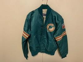 Vintage 80s Starter NFL Miami Dolphins Nylon Satin Bomber Jacket Aqua La... - $127.71
