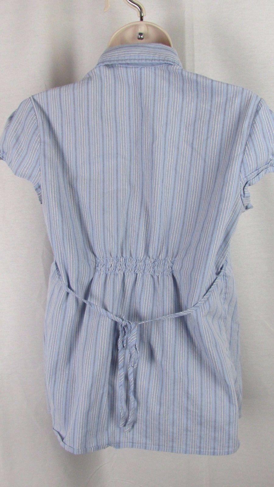 fa7483ac4b569 Motherhood Maternity Small blue stripe short sleeve top blouse button down  woven