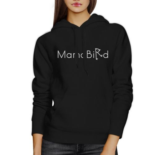 MamaBird Unisex Black Hoodie Lovely Design Cute Gifts For Wife