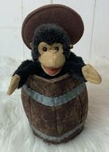 Folkmanis Hand Puppet Monkey in Barrel Toy Plush Brown NWOT  - $24.70