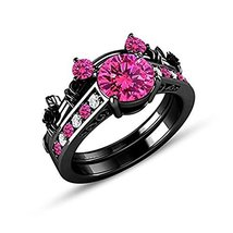 Round Pink & White Sapphire 14K Black Gold 925 Silver Bridal Wedding Ring Set - $99.99