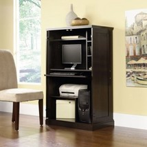 Computer Desk Cabinet Home Office Space Saving Wooden Workstation - $260.55