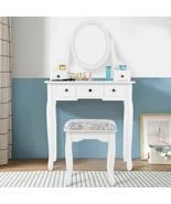 Modern Dressing Table Set w/Oval Mirror Stool & 5 Storage Drawers - $161.49