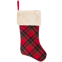 Plaid Stockings with Faux Fur Cuff choose Either Red Or Green Plaid - $8.00