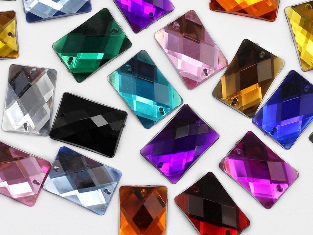 25x18mm Crystal Clear CH38 Rectangular Flat Back Sew On Gems For Craft 18 PCS