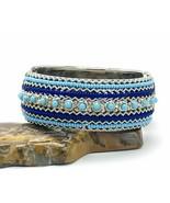 Blue Beaded Bangle Textured Silver Tone Hinge Clamp Bracelet - €12,32 EUR